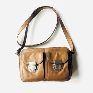Fossil leather double buckle handbag